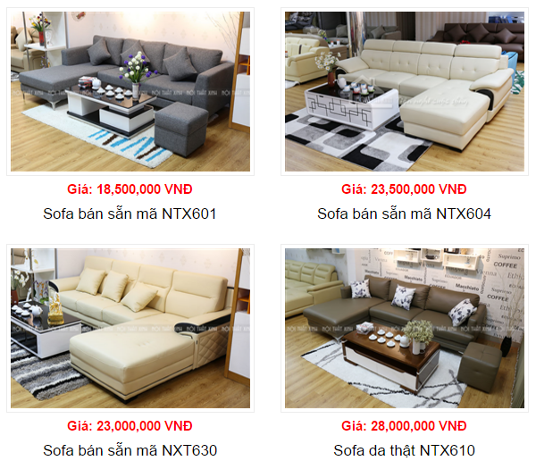 giá bàn ghế sofa