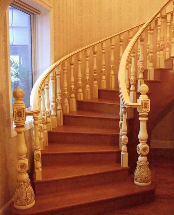 cầu thang gỗ biệt thự đẹp