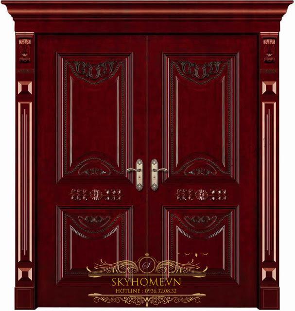 cửa gỗ gõ đỏ - mẫu 2