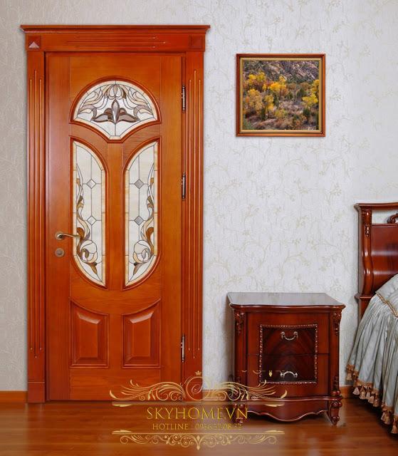 cửa gỗ gõ đỏ - mẫu 6