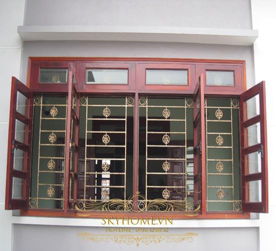 cửa số 4 cánh bằng gỗ