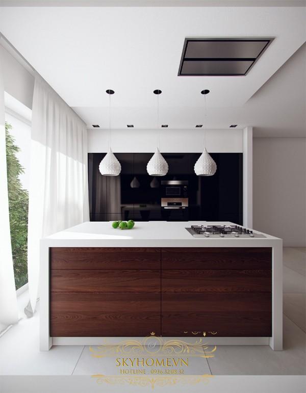 Dùng đèn trùm làm điểm nhấn cho căn bếp
