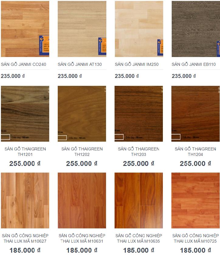 Giá sàn gỗ công nghiệp