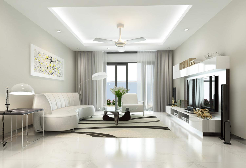 phòng khách gam màu trắng