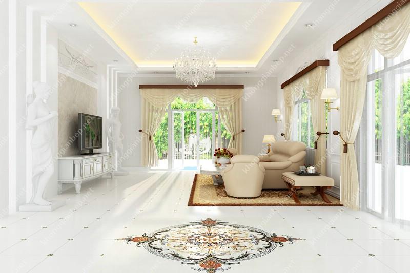 phòng khách tông màu trắng nhẹ nhàng