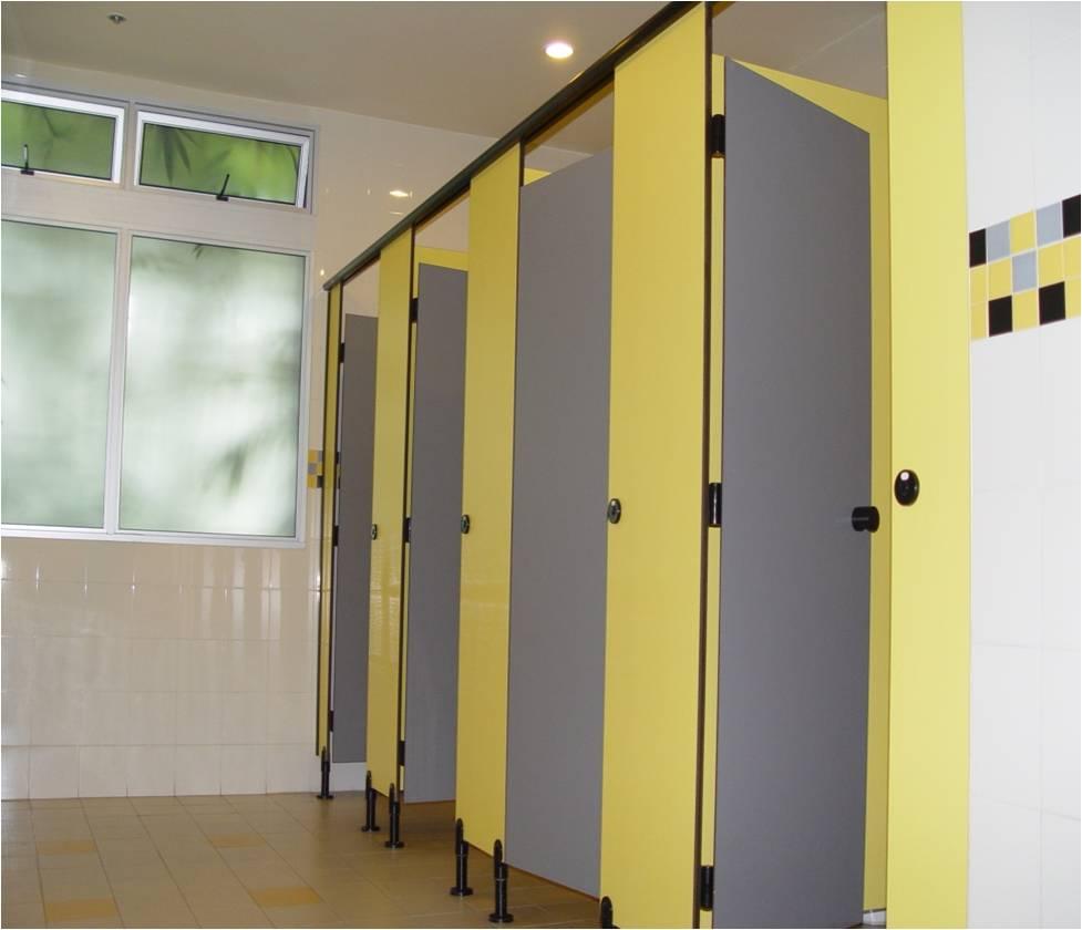 Vách ngăn vệ sinh laminate màu vàng xám