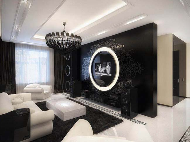 phòng khách đen trắng
