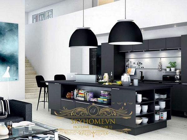 bếp đen trắng