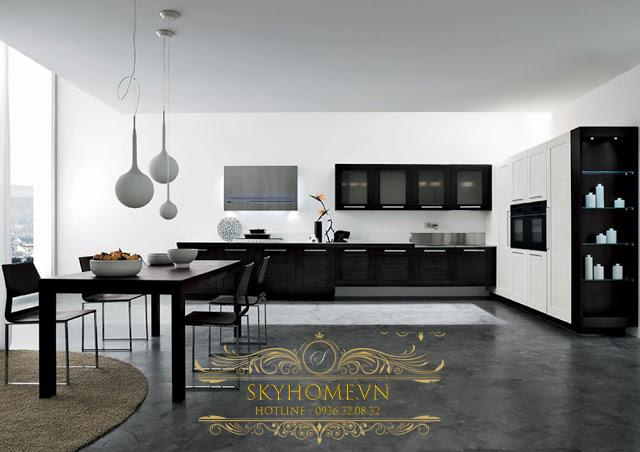 Nội thất phòng bếp đen trắng - Mẫu số 2