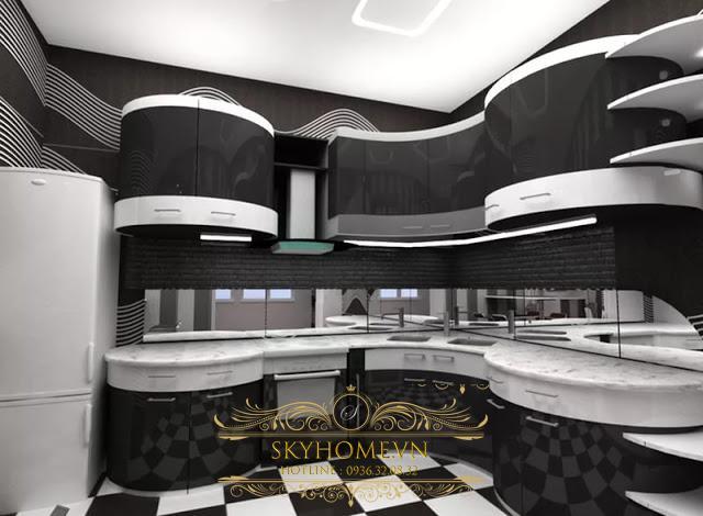 Nội thất phòng bếp đen trắng - Mẫu số 5