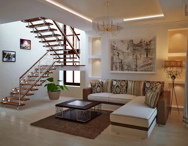 Phòng khách có cầu thang - mẫu 1