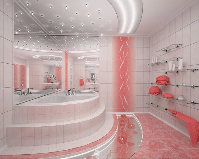 Phòng tắm màu hồng - mẫu 1