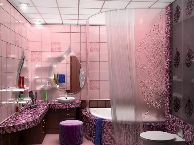 Phòng tắm màu hồng - mẫu 3