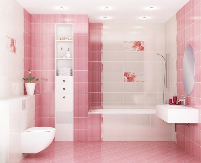 Phòng tắm màu hồng - mẫu 5