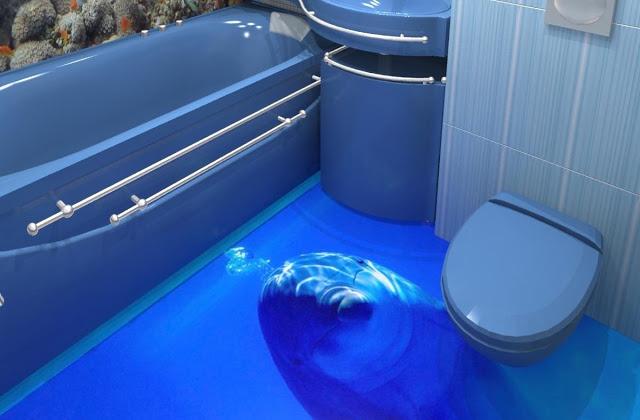 Phòng tắm sàn 3D - Mẫu số 2