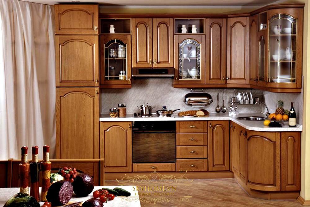 Tủ bếp gỗ được phủ bóng