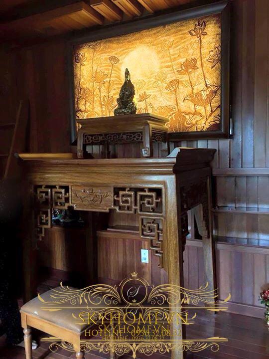 Tranh trúc chỉ hoa sen trang trí bàn thờ