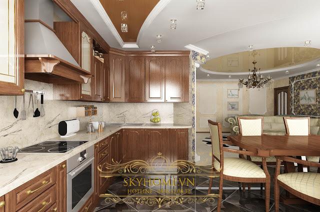Tủ bếp chuyển tiếp - Mẫu số 1