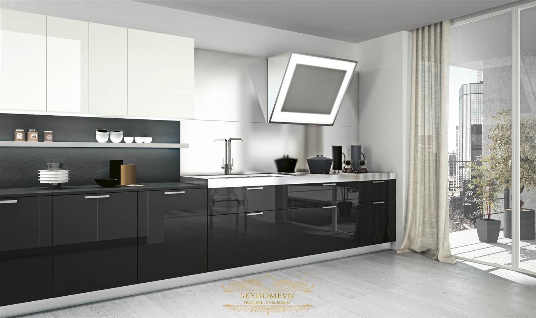 Tủ bếp đen sang trọng và hiện đại
