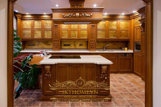 tủ bếp gỗ giáng hương- mấu số 4