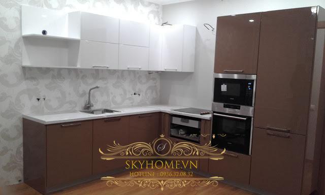 Tủ bếp gỗ laminate - Mẫu số 4