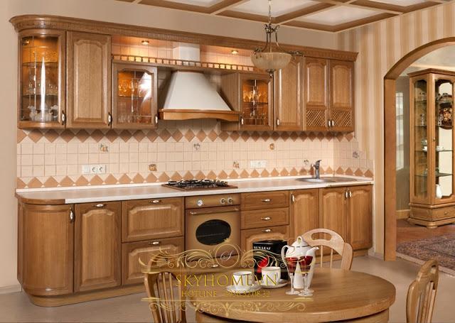 tủ bếp gỗ sồi - mẫu số 2