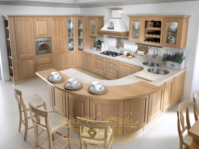 tủ bếp gỗ sồi - mẫu số 3