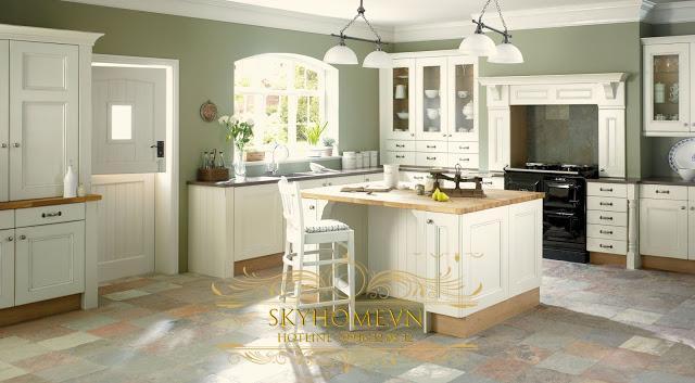 tủ bếp gỗ sơn trắng - mẫu số 2