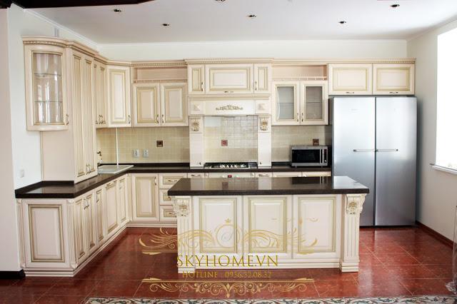 tủ bếp gỗ sơn trắng - mẫu số 3