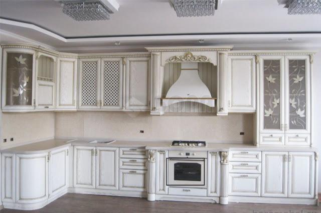tủ bếp gỗ sơn trắng - mẫu số 4