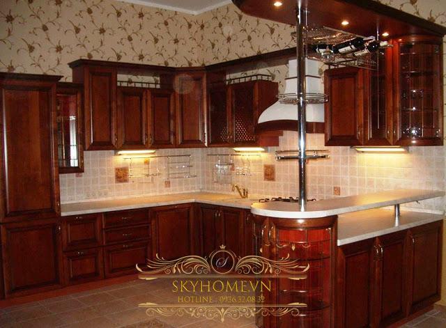 Tủ bếp có quầy bar - Mẫu thiết kế số 1
