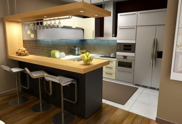 Tủ bếp có quầy bar - Mẫu thiết kế số 2