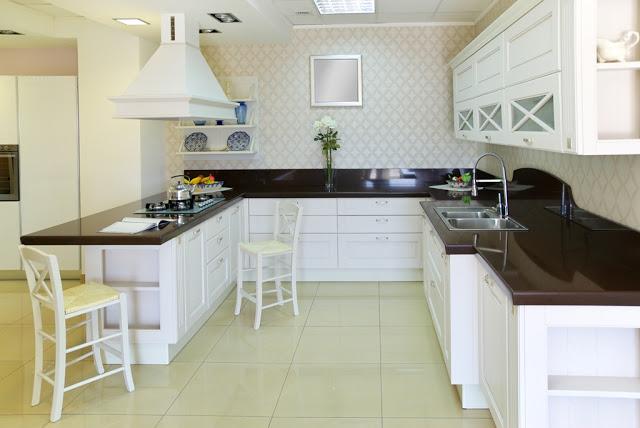 tủ bếp tự nhiên sơn trắng
