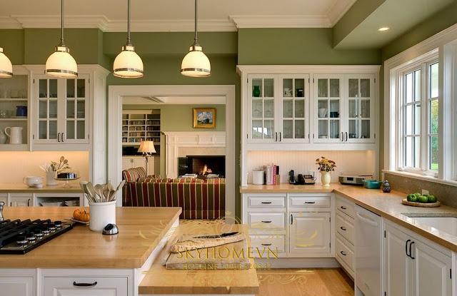 tủ bếp gỗ xoan đào trắng- mẫu số 5
