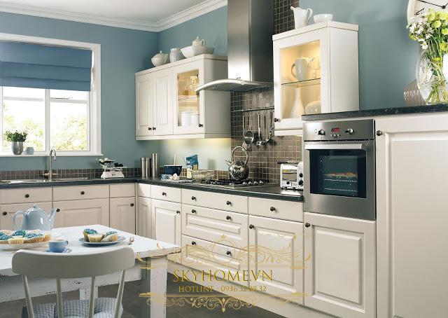 tủ bếp gỗ xoan đào trắng- mẫu số 4