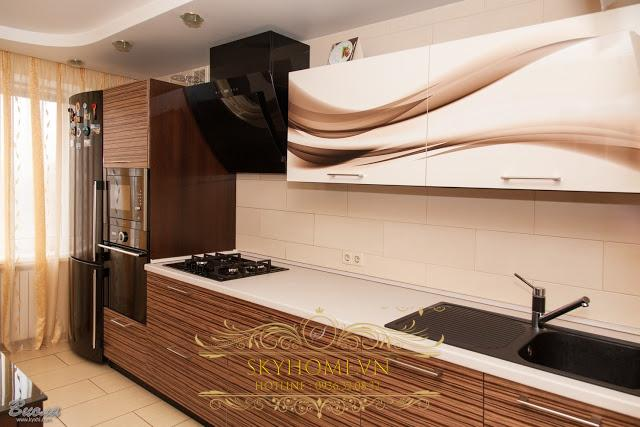 tủ bếp gỗ veneer- mẫu số 4