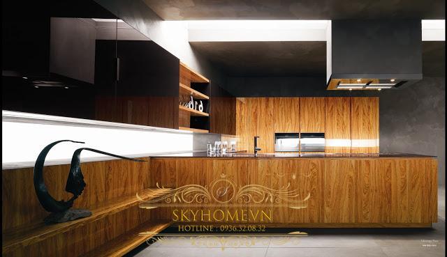 tủ bếp gỗ veneer- mẫu số 3