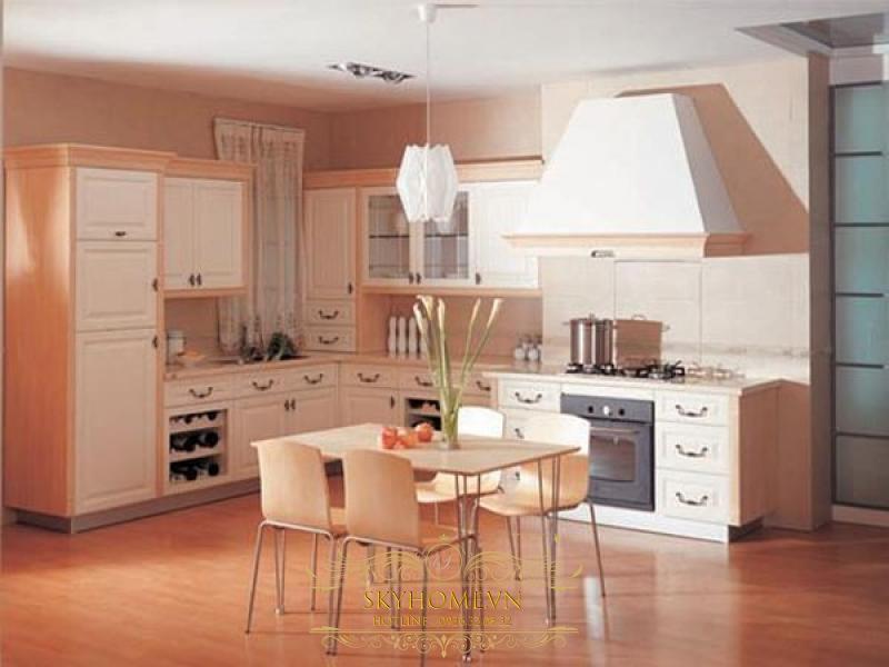 tủ bếp gỗ xoan đào trắng- mẫu số 1