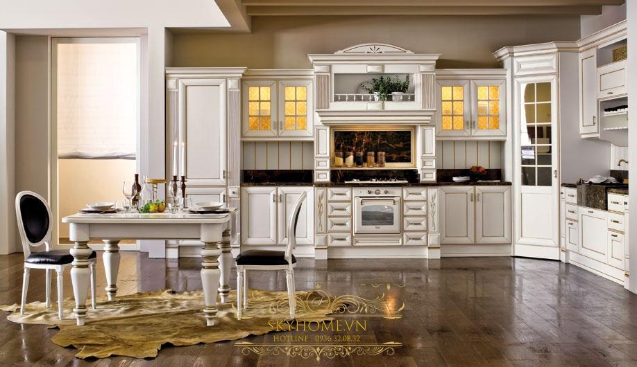 Tủ bếp gỗ trắng cổ kính