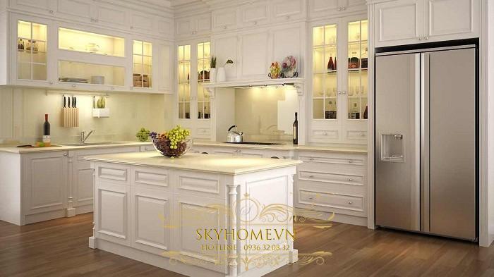 tủ bếp gỗ xoan đào trắng- mẫu số 2