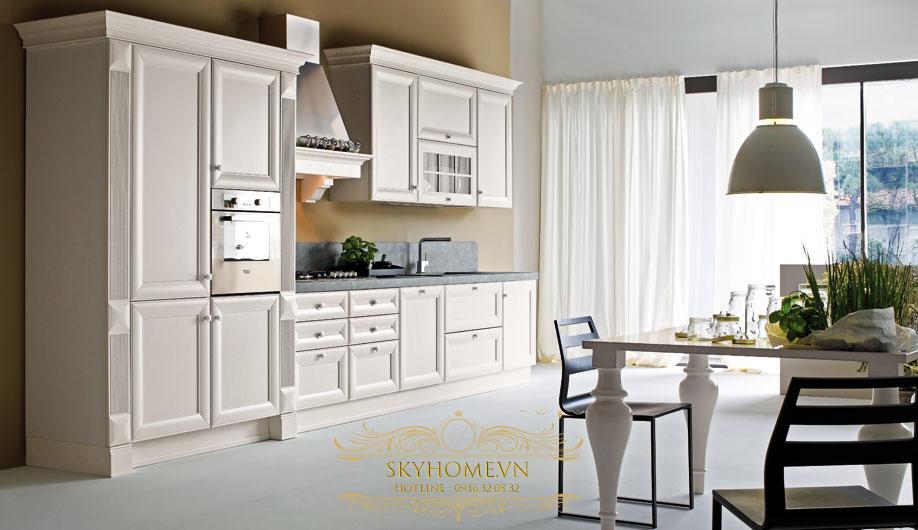tủ bếp gỗ xoan đào trắng- mẫu số 3