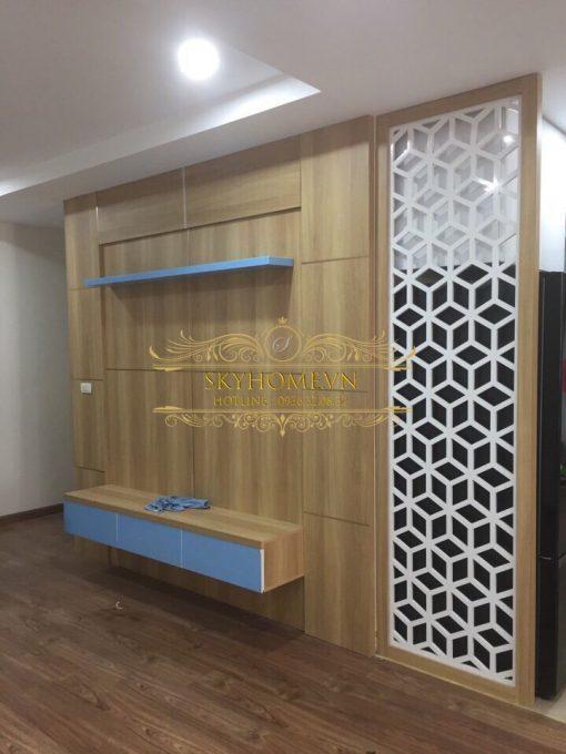vách ngăn phòng khách và bếp bằng gỗ 2