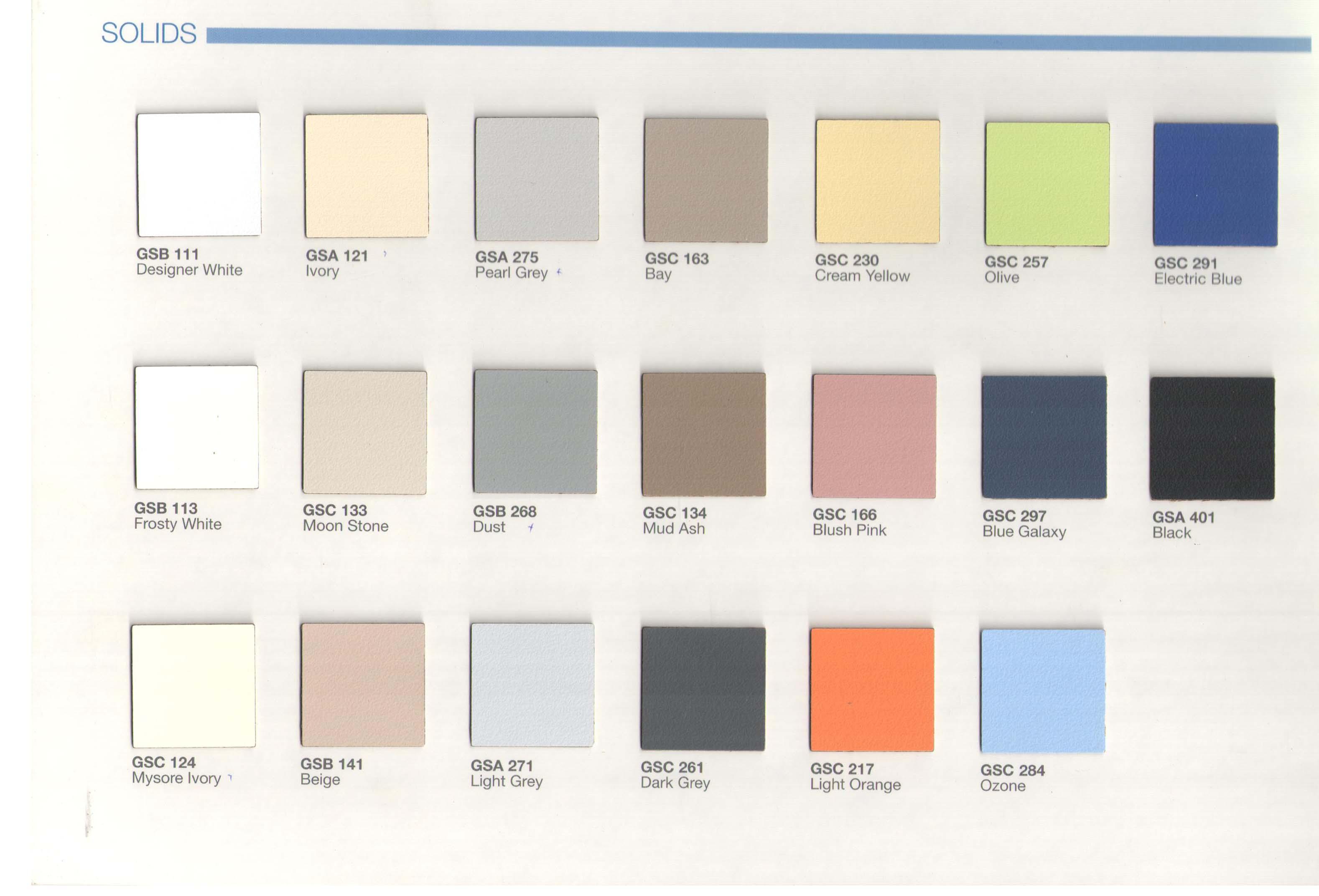 Bảng màu vách ngăn vệ sinh compact